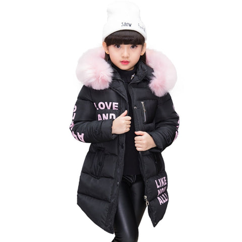 NEW Girl Winter Cotton-Padded Jacket Children's Fashion Coat Kids Outerwear Baby's warm down jacket Children Clothing 4-12 years
