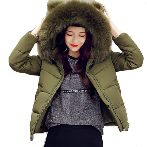 New fashion Big Fur Collar Warm Hooded Autumn Winter Jacket Women womens