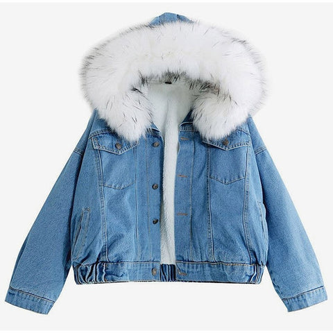 women jean jacket Winter Thick Jean Jacket Faux Fur Collar Fleece Hooded Denim
