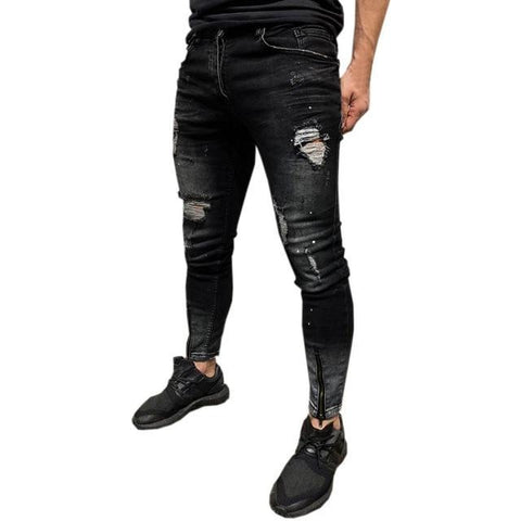 Mens Skinny Stretch Denim Pants Distressed Ripped Freyed Slim Fit Jeans Trousers Celana Jeans