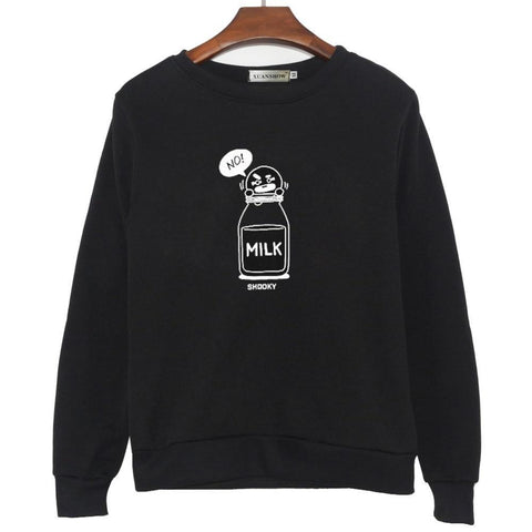SHOOKY CHIMMY Cartoon Milk Letters Fashion Sweatshirts Streetwear Man