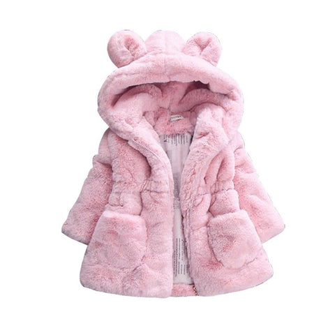 New Winter Baby Girls Clothes Faux Fur Fleece Coat Pageant Warm Jacket Xmas Snowsuit 1-8Y Baby Hooded Jacket Outerwear