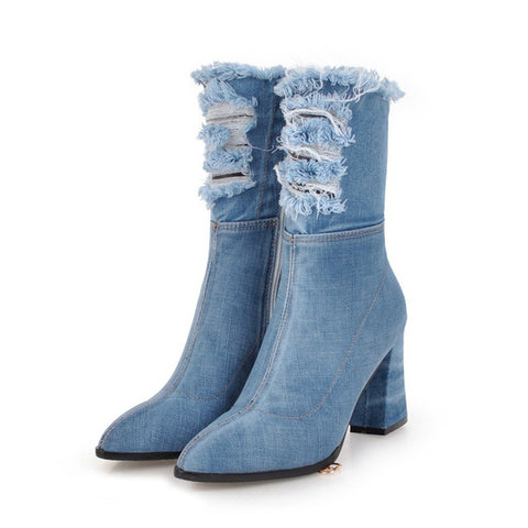 Denim Thick High Heels Women Boots Holed Ankle Boot 2019 New Fashion Pointed Toe Lady Shoes Ripped Summer Footwear