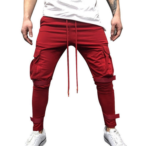 Men Skinny Pants Casual Drawstring Streetwear Hip Hop Bodybuilding Trousers Fashion Pocket Patchwork Joggers Sweatpants