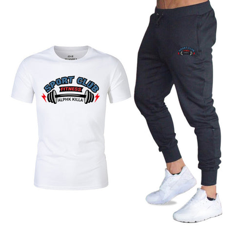 Men Fashion Two Pieces Sets Jogger pants+T Shirts Men Sports Joggers Training Suit brand Gym Fitness Tracksuits Set streetwear