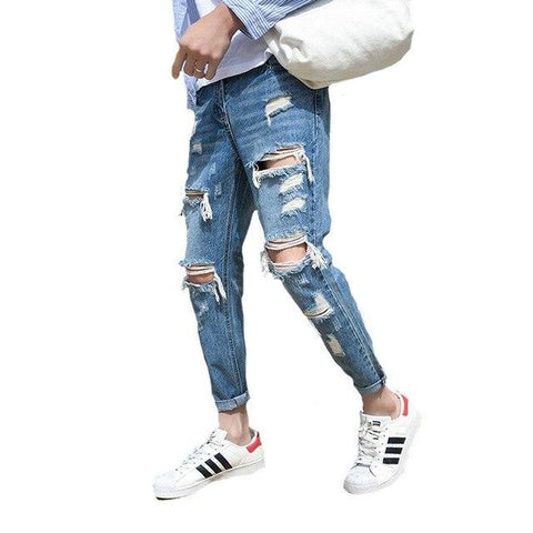 Distressed beggar jeans male giant ripped hole handsome male feet hip hop streetweat