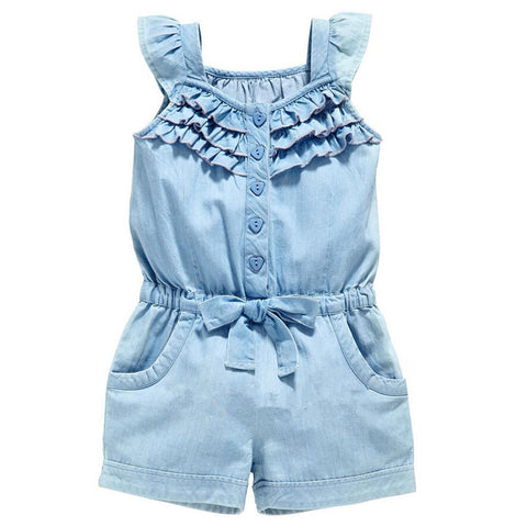 Children Kids Girl Sleeveless Bodysuit Jumpsuit Jumper Denim Jeans Summer Cute Clothing