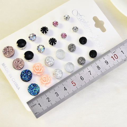 12 pairs/set Crystal New Fashion Earrings Set Women Jewelry Accessories Piercing Ball Stud Earring kit Bijouteria brincos