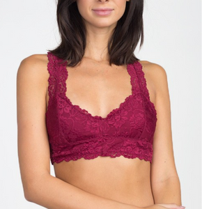 Copy of X Back Lace Bralette - Garnet