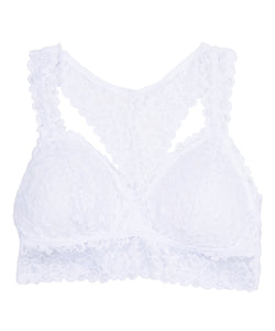 X Back Lace Bralette - White