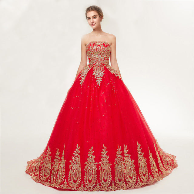 Vintage Lace Red Bridal Ball Gown Wedding Dress – Miss 2 Missis