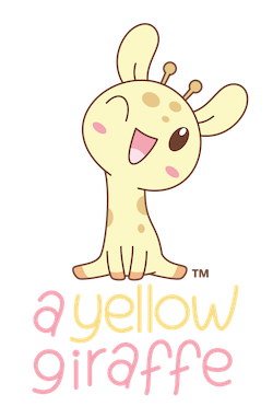 kawaii yellow giraffe sitting on top of shop name