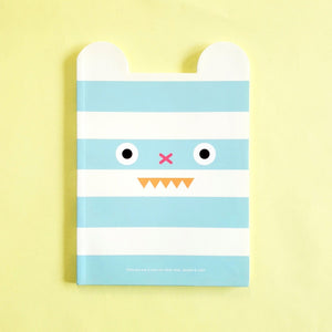 kawaii stationery by ssueim & cclim: funny mouth notebook with blue stripes (front cover)