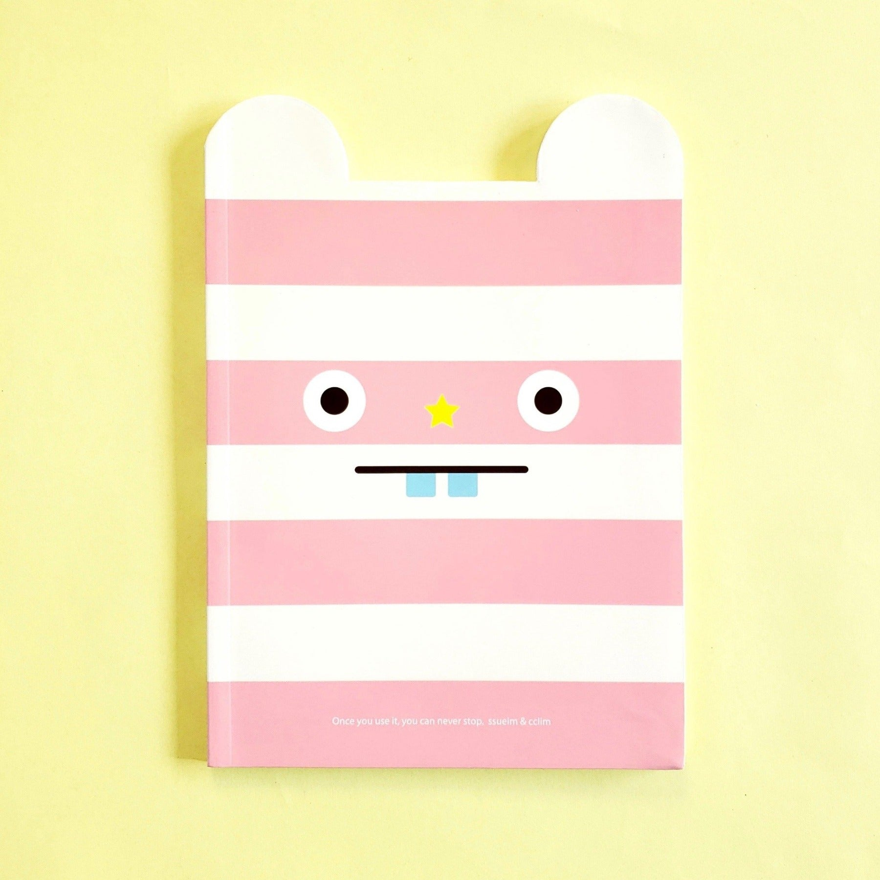 ssueim & cclim funny mouth notebook pink stripes front cover