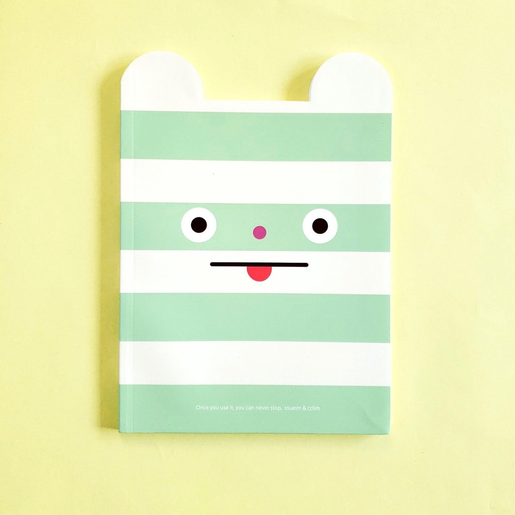 ssueim & cclim funny mouth notebook ssueim & cclim green stripes front cover