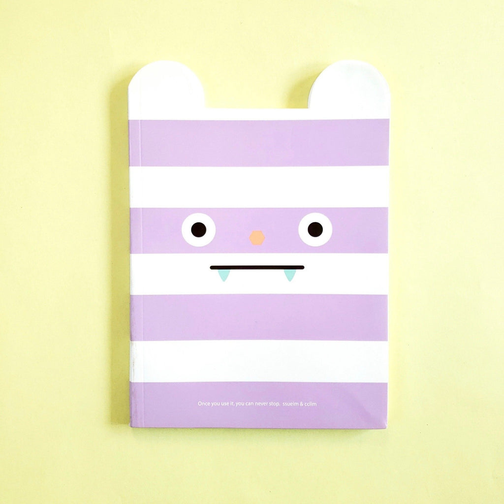 cute korean stationery funny mouth notebook with purple stripes