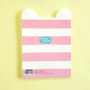 ssueim & cclim funny mouth notebook pink stripes back cover