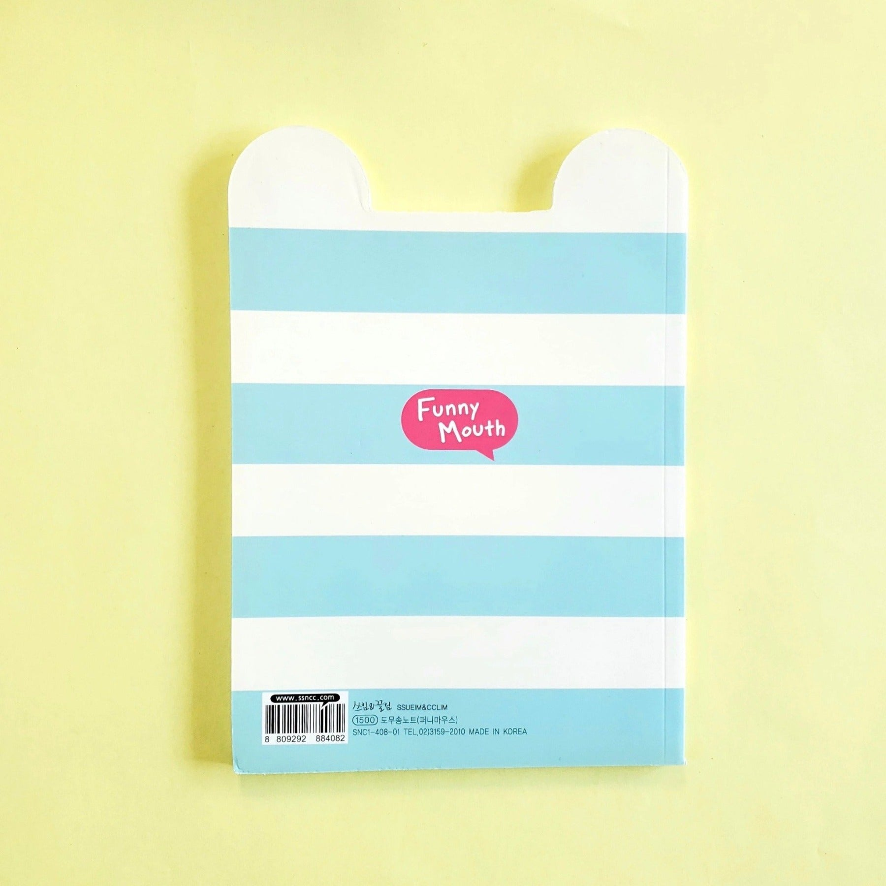 kawaii korean stationery by ssueim & cclim: funny mouth notebook with blue strips (back cover)