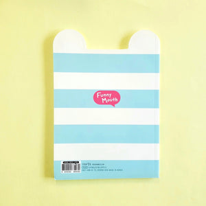 ssueim & cclim funny mouth notebook blue strips back cover