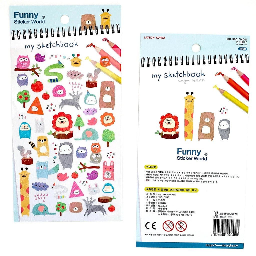 Cute Korean Stickers Funny Sticker World My Sketchbook front and back view