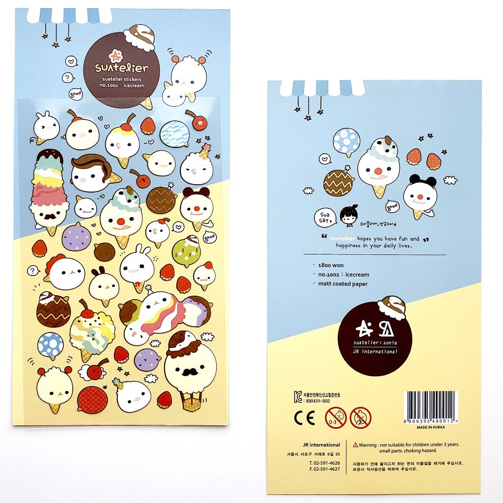 full view of korean stickers suatelier ice cream matte stickers