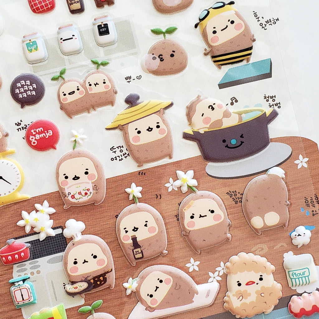 cute korean stickers suatelier gamja (potato) puffy stickers