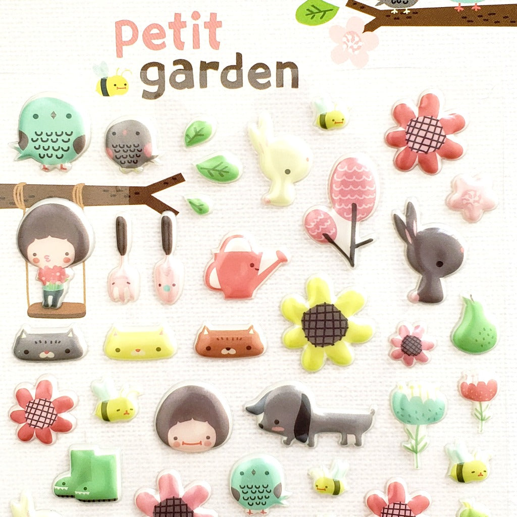 Cute Korean Stickers | Funny Sticker World Petit Garden Puffy Stickers