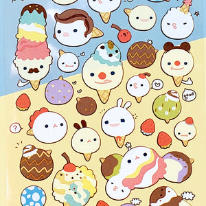 closeup of cute korean stickers suatelier ice cream matte stickers