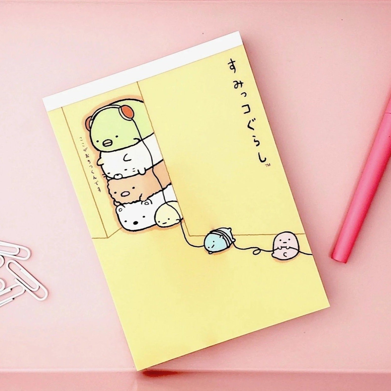 Kawaii Japanese Stationery Sumikko Gurashi Notepad Orange Cover