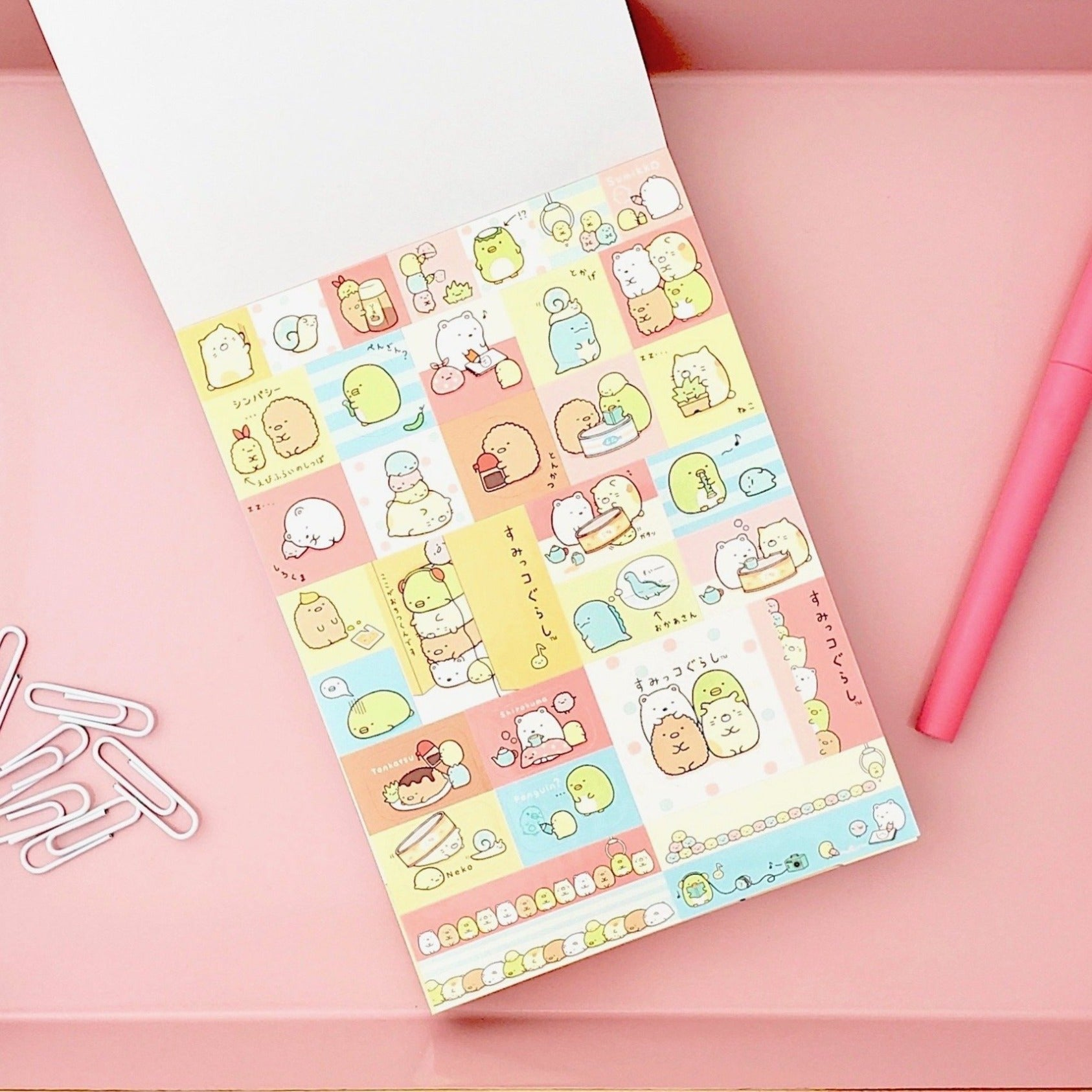 Kawaii Japanese Stationery Sumikko Gurashi Notepad Orange Cover Stickers