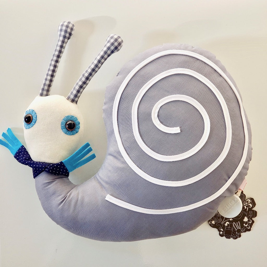 Close up view of front of Esthex Simon Snail Musicbox Plushie on white background for all ages