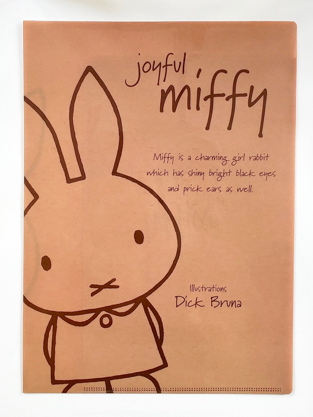miffy 2 pocket plastic folder brown front view
