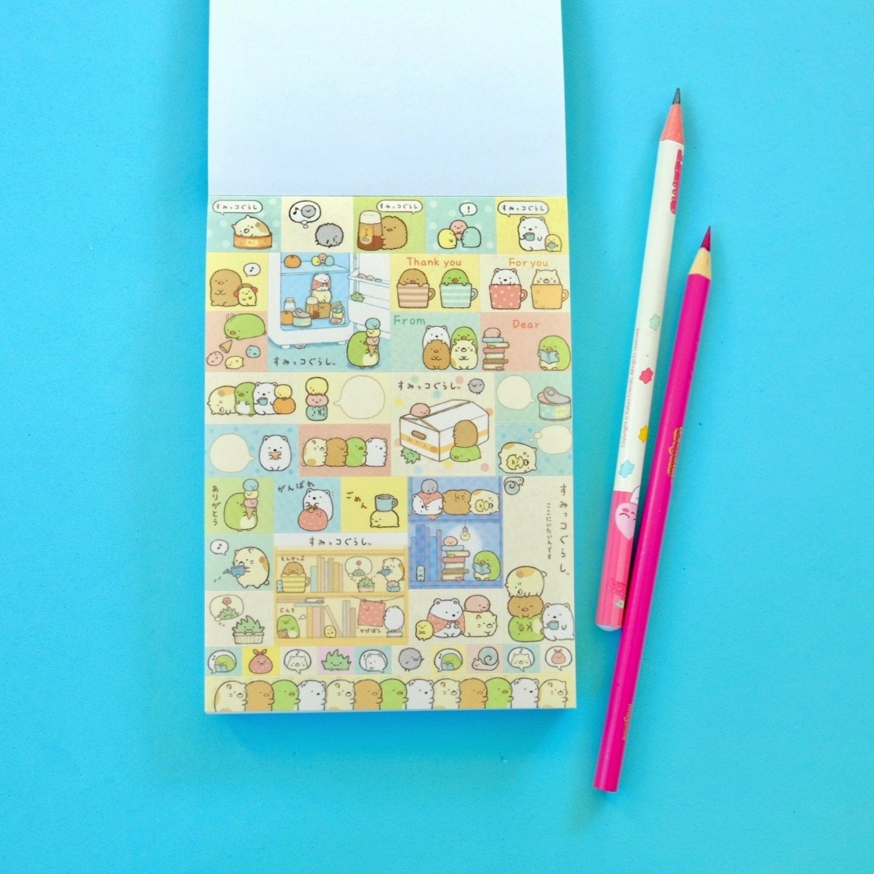 Kawaii Japanese Stationery Sumikko Gurashi Notepad Blue Cover Sticker Page