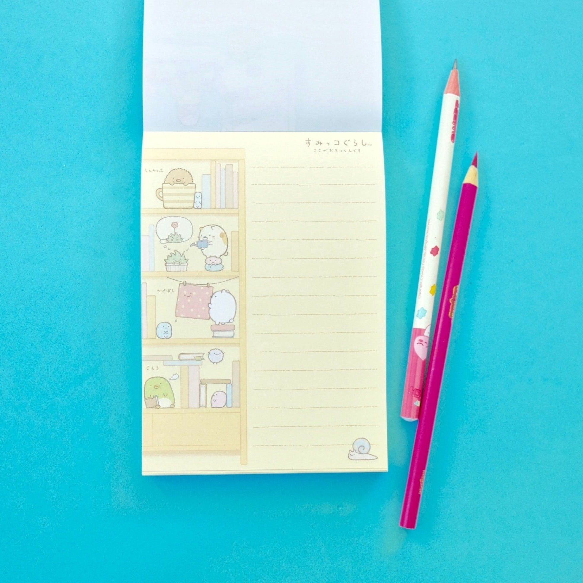 Kawaii Japanese Stationery Sumikko Gurashi Notepad Blue Cover Pages