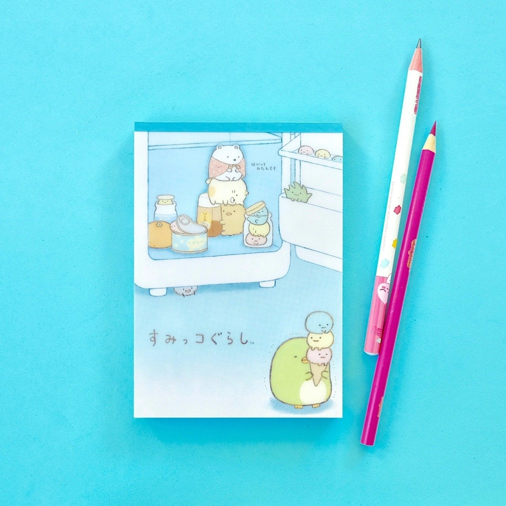 Kawaii Japanese Stationery Sumikko Gurashi Notepad Blue Cover