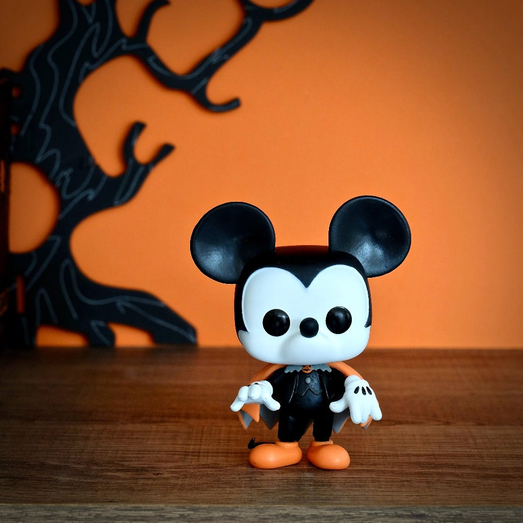 Funko POP! Disney Spooky Mickey front view Halloween background