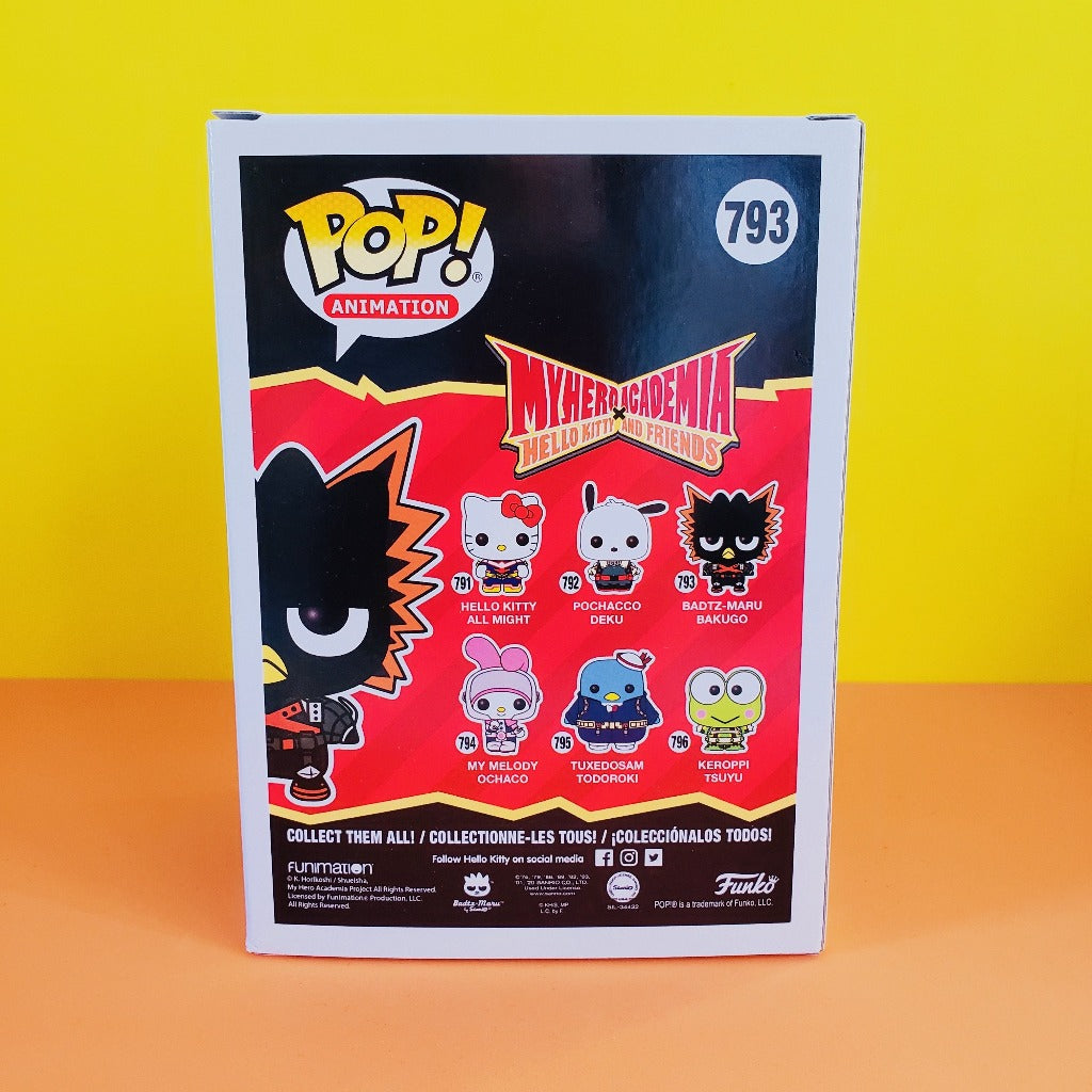Funko POP! My Heroacademia Sanrio Badtz-Maru Katsui stock box back view