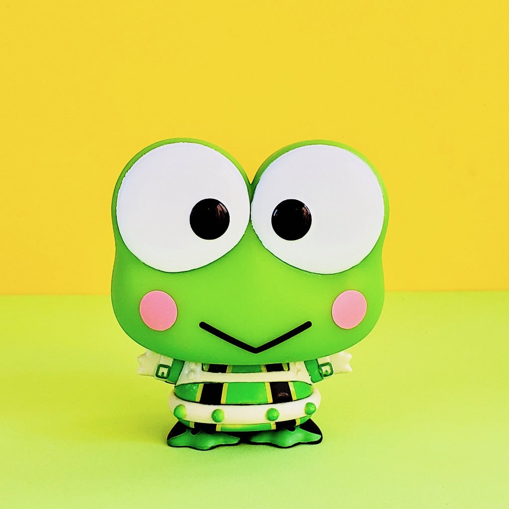 Funko POP! My Hero Academia Keroppi Tsuyu front view on yellow-green background dressed in Tsuyu's hero outfit