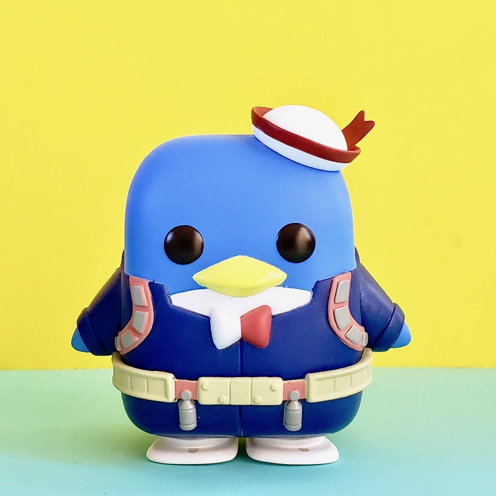 Funko POP! My Hero Academia Tuxedo Sam Todoroki front view on yellow-blue background dressed in Todoroki's hero outfit