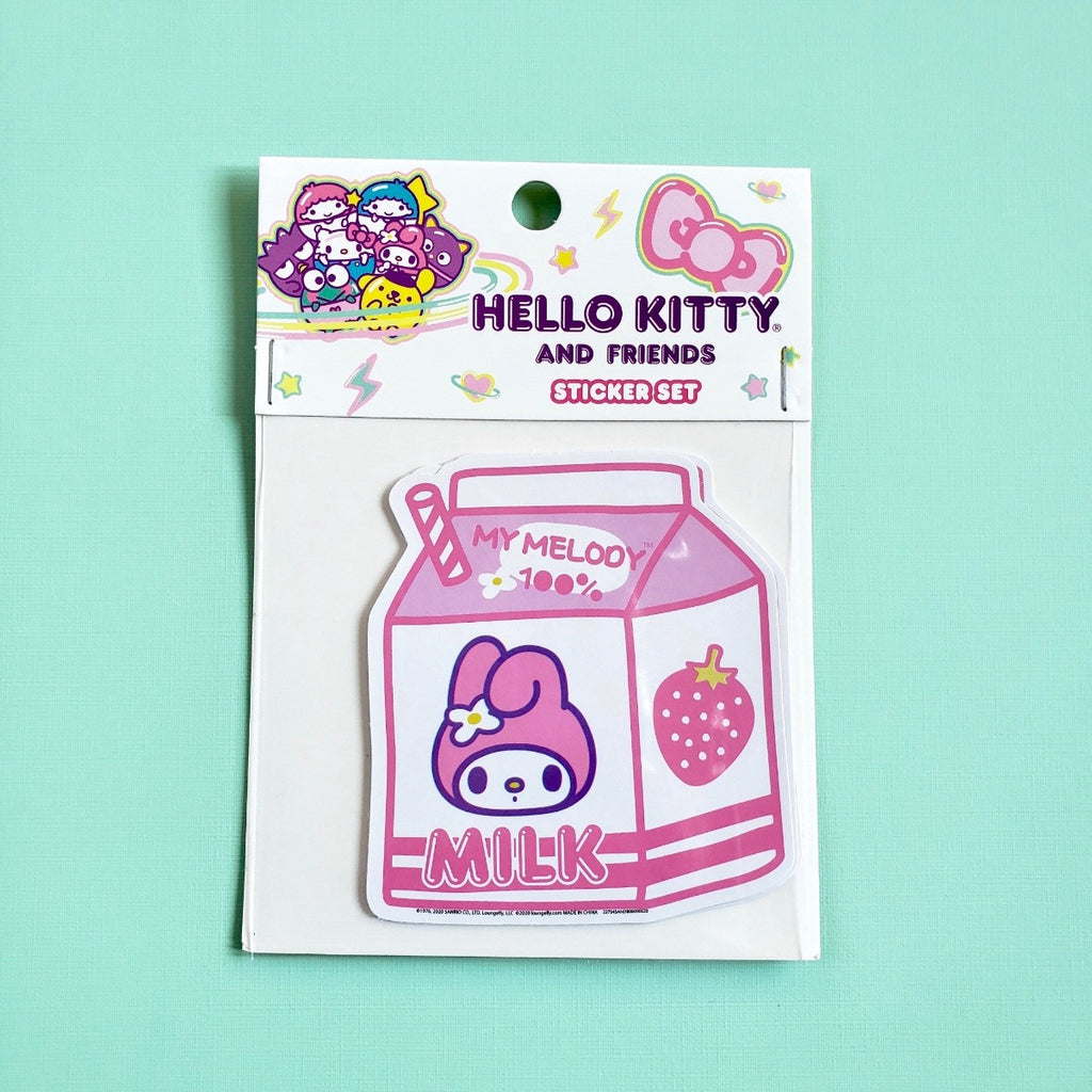 Loungefly Hello Kitty Friends milk carton stickers front view