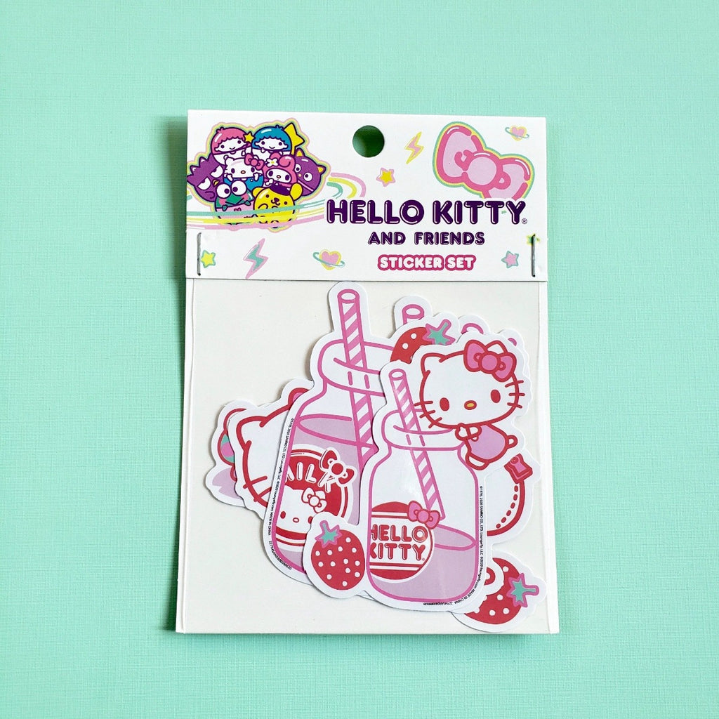 Loungefly Hello Kitty Friends Strawberry Milk Sticker Set front view