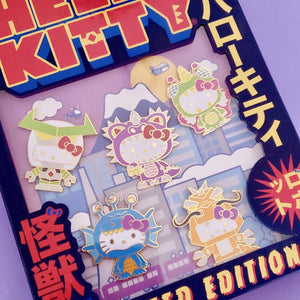 Hello Kitty Kaiju Pin Set closeup