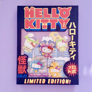 Hello Kitty Kaiju Limited Edition Pin Set front view