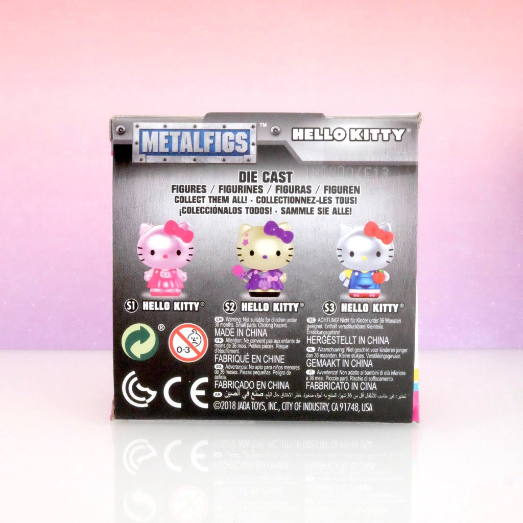 back box view of pink Hello Kitty die-cast Metalfigs