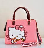 Loungefly Hello Kitty Pumpkin Spice Latte Wave Crossbody Handbag front shoulder strap