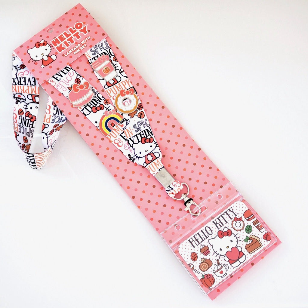 full length view of Loungefly Hello Kitty Pumpkin Spice lanyard