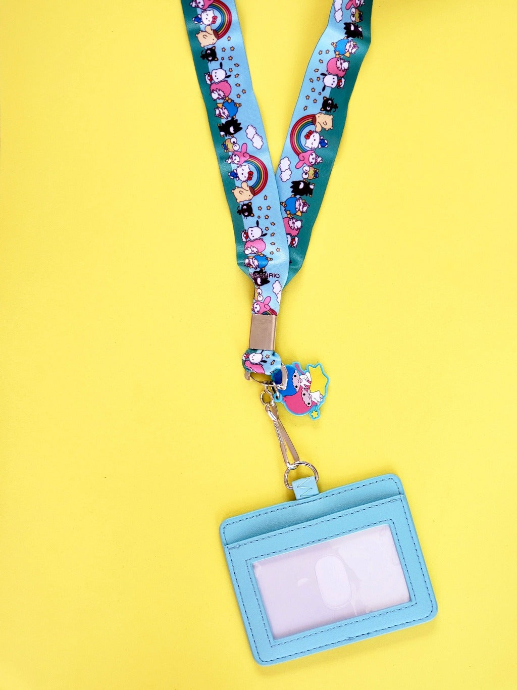 Loungefly Sanrio Friends lanyard with attached ID holder and twin stars charm