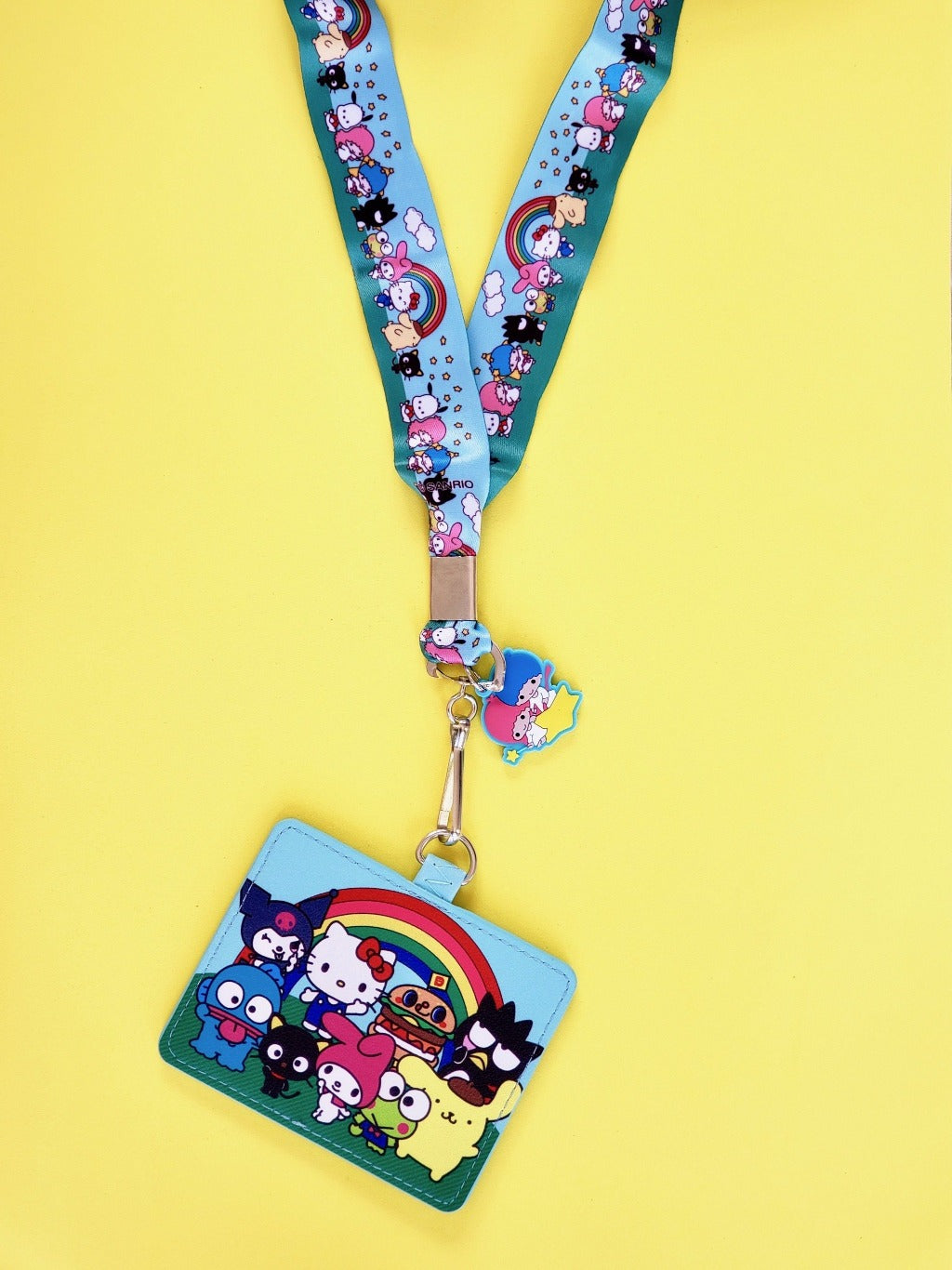 back view of cardholder with attached lanyard and twin stars charm Loungefly x Sanrio