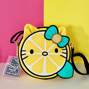 Loungefly Hello Kitty shaped as a cute Lemon Crossbody Bag Front View