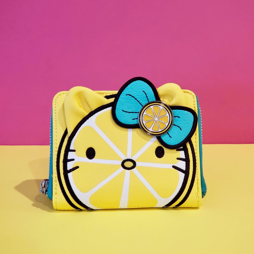 Loungefly Hello Kitty Lemon Zip Around Wallet bright yellow with lemon and green leaves bow front view